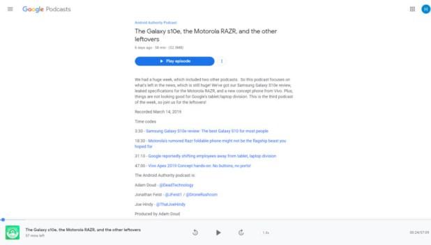 Google Podcasts website.