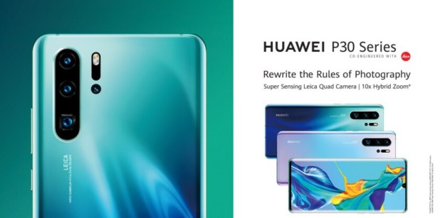 Huawei P30 Pro renders featuring a large shot of the P30 Pro on the left and several stacked devices on the right.