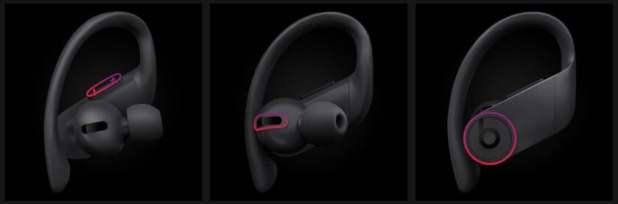 Beats Powerbeats Pro physical controls screenshot from Beats website.