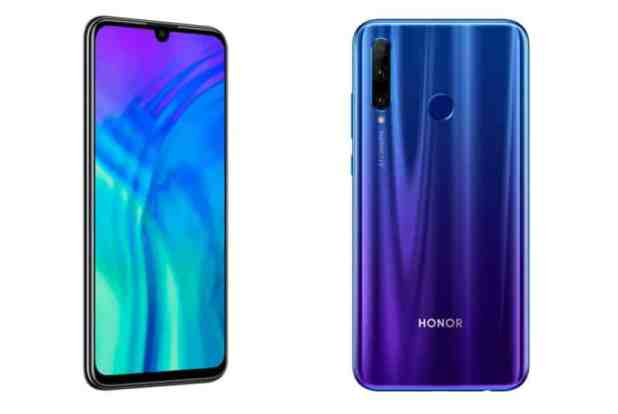 The Honor 20 Lite renders from the front and back.