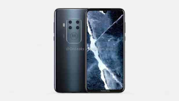 A render of an unknown Motorola smarpthone featuring a quad rear camera.