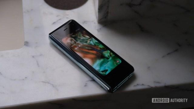 Samsung Galaxy Fold front small display on tabl;e