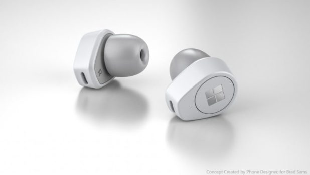 Microsoft Buds render on white background, AirPods competitor.