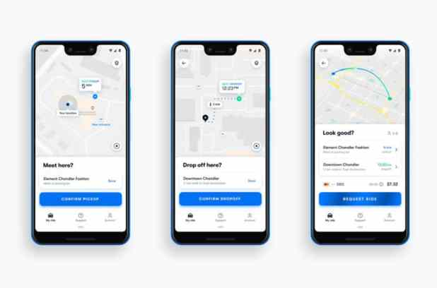 Screenshots of the Waymo app.