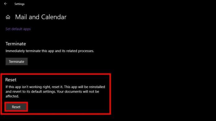 Windows 10 Reset Mail app