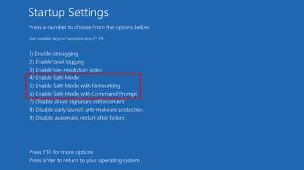 Windows 10 Safe Mode options