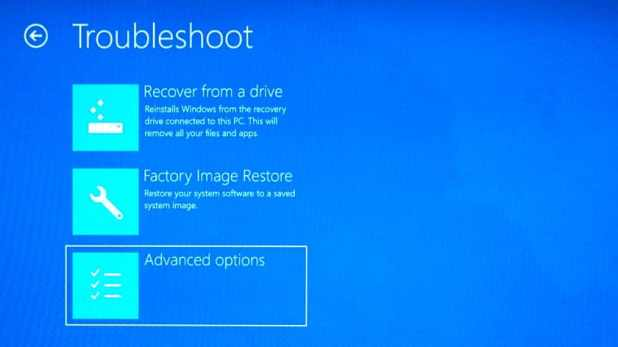 Windows 10 choose advanced options