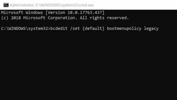 Windows 10 enable F8 boot option