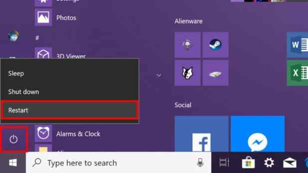 Windows 10 restart PC