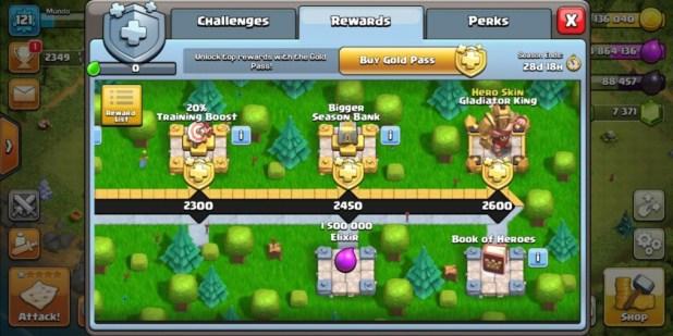 The clash of clans seasonal rewards track screenshot.