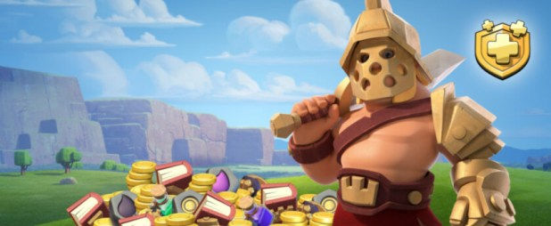 A clash of clans warrior render next to a pile of gold.
