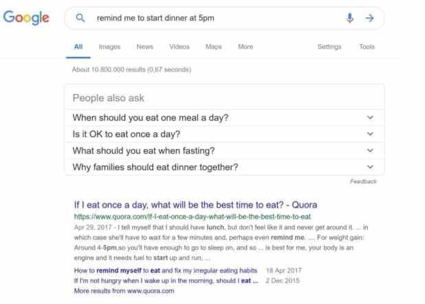 Google search reminder on a desktop computer.