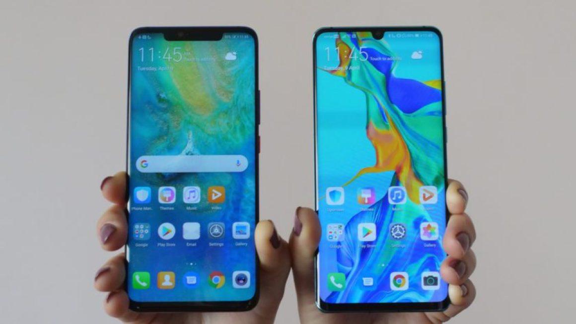 Huawei P30 Pro против Huawei Mate 20 Pro держал в руке показ дисплеев