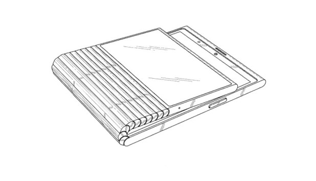 A patent drawing, showing a Lenovo foldable phone.