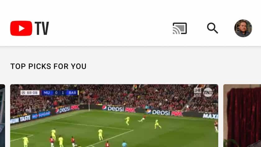 Скриншот главного экрана YouTube TV