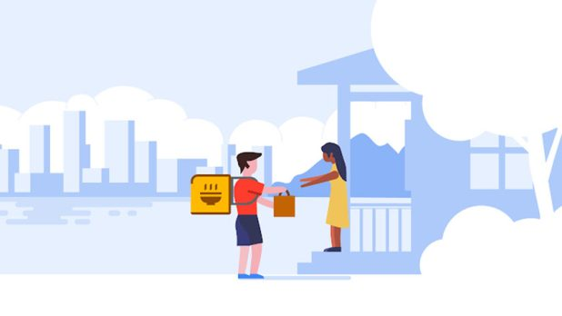 An illustration related to Google's new food delivery integrations within Search, Maps, and Google Assistant.
