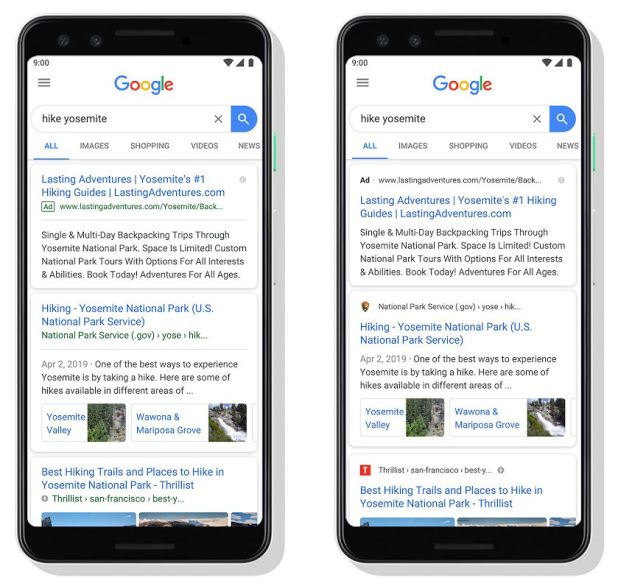 An example of how the new Google Search redesign will look.