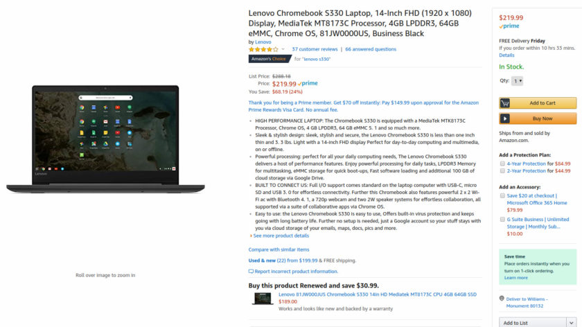 Deal on the Lenovo Chromebook S330.