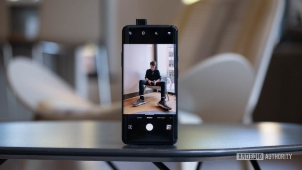 OnePlus 7 Pro selfie open on table - a phone with 12gb ram
