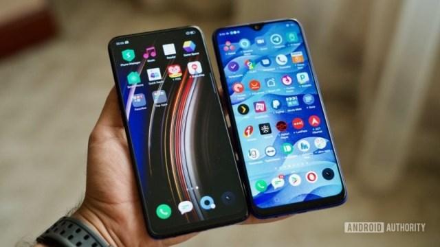Realme X vs Realme X Lite phones in hand showing display