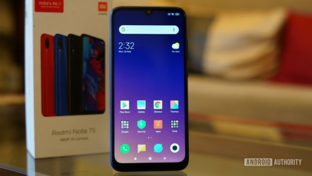 Redmi Note 7S showing front display