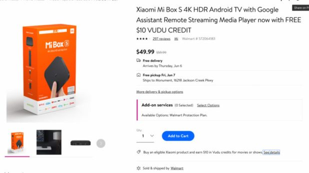 Deal on the Xiaomi Mi Box S from Walmart.