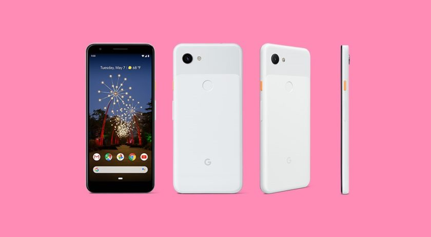 Google Pixel 3a renders in white from four angles.