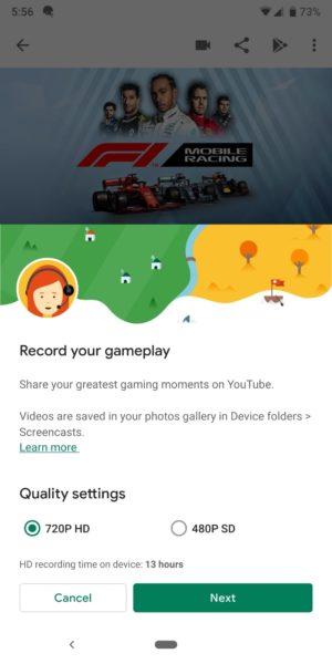 google play games screen recording settings