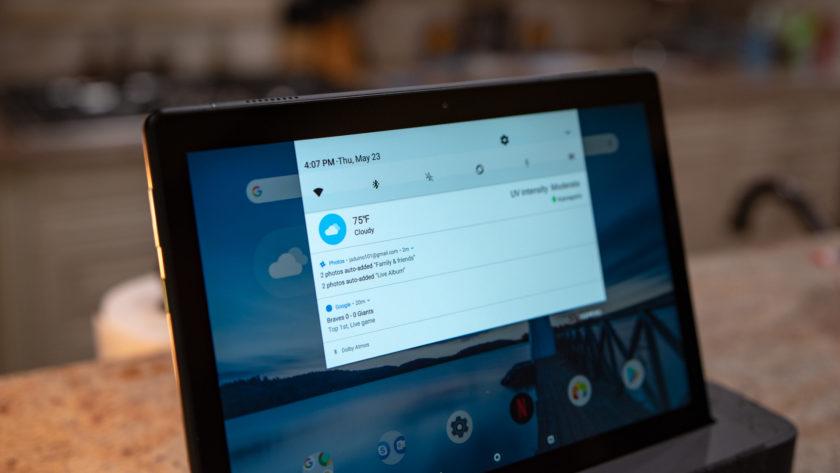 Lenovo Smart Tab P10 Notification Shade