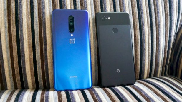 OnePlus 7 Pro vs Google Pixel 3 XL rear on chair
