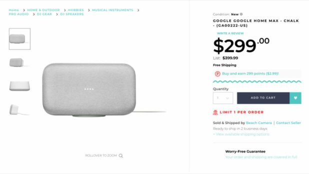 Screenshot of a deal on the Google Home Max through Rakuten.