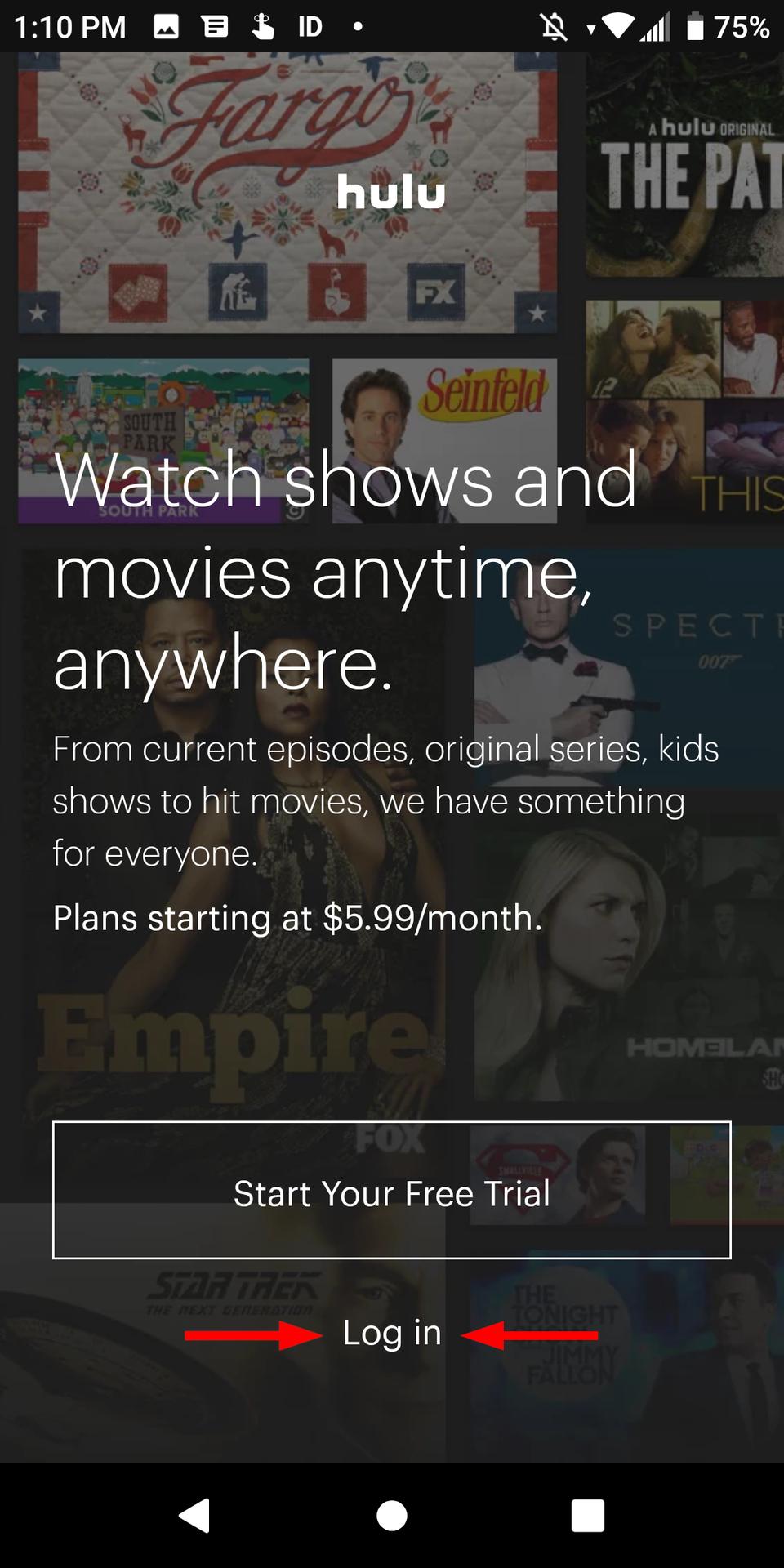 Hulu Android Войти