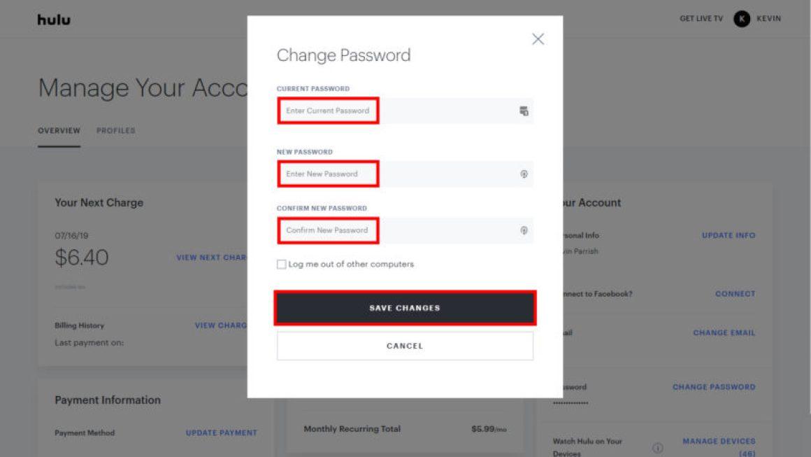 Hulu Введите новый пароль