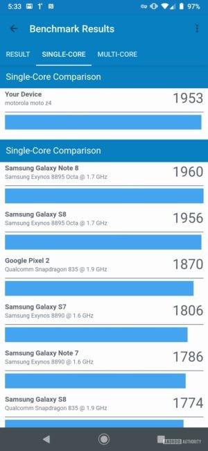 Motorola Moto Z4 Geekbench Single core results