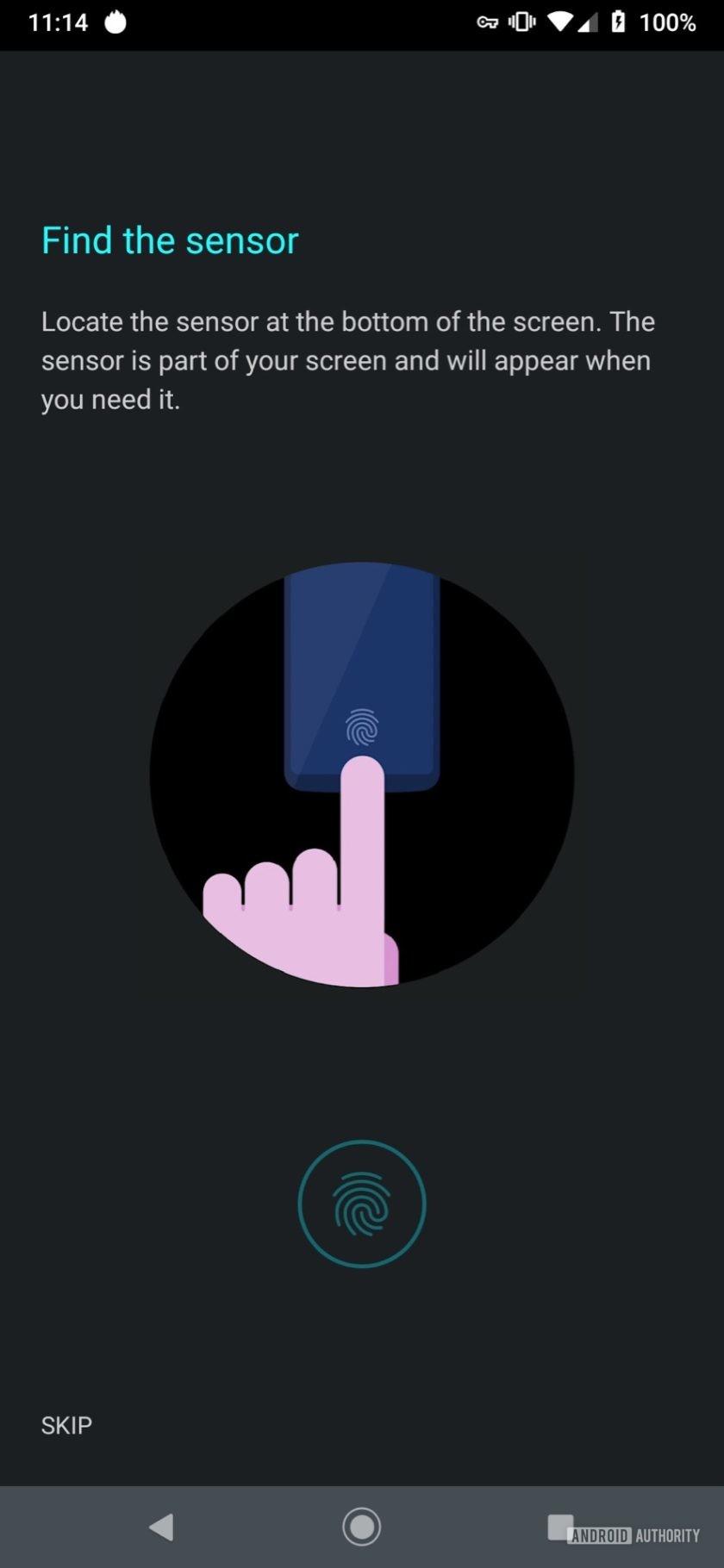 Motorola Moto Z4 training fingerprint sensor
