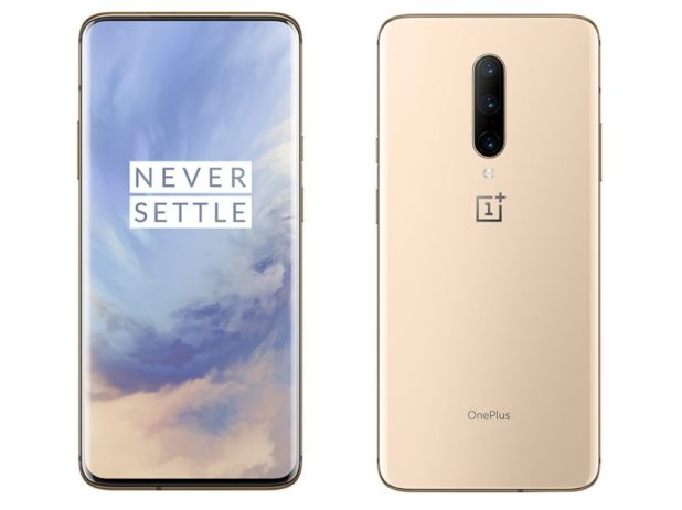 Two OnePlus 7 Pro Almond renders from the front and back.
