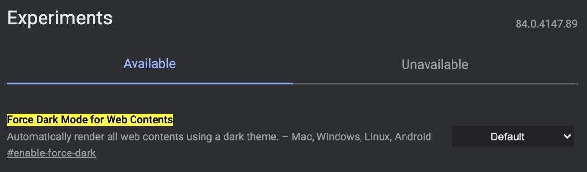 Включить темный режим для веб-содержимого флаги Chrome