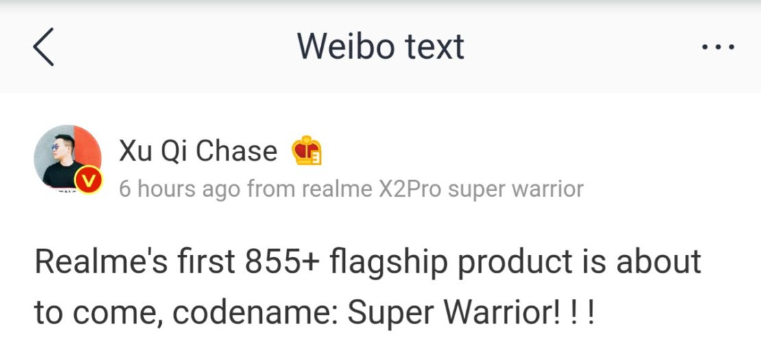 An executive confirms a Realme Snapdragon 855 Plus phone, dubbed the Realme X2 Pro.
