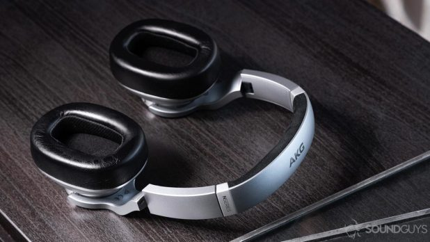 The AKG N700NC noise-cancelling headphones lying flat on a table.