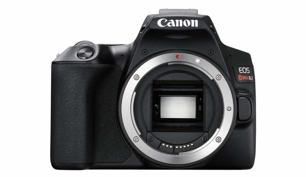 Canon Rebel SL3 front side without a lens.