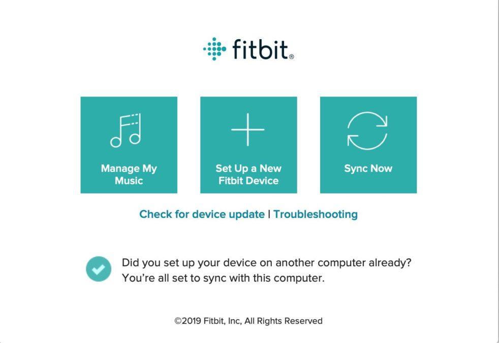 Приложение Fitbit Connect на рабочем столе
