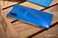 Samsung Galaxy Note 10 Plus Aura Blue at angle