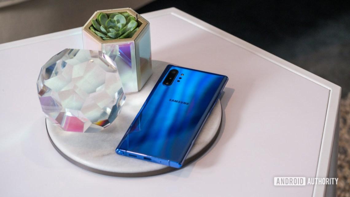 Samsung Galaxy Note 10 Plus Aura Blue back on table