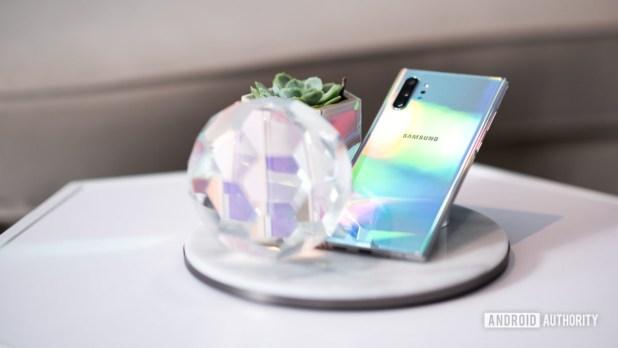 Samsung Galaxy Note 10 Plus Aura Glow at angle back 3
