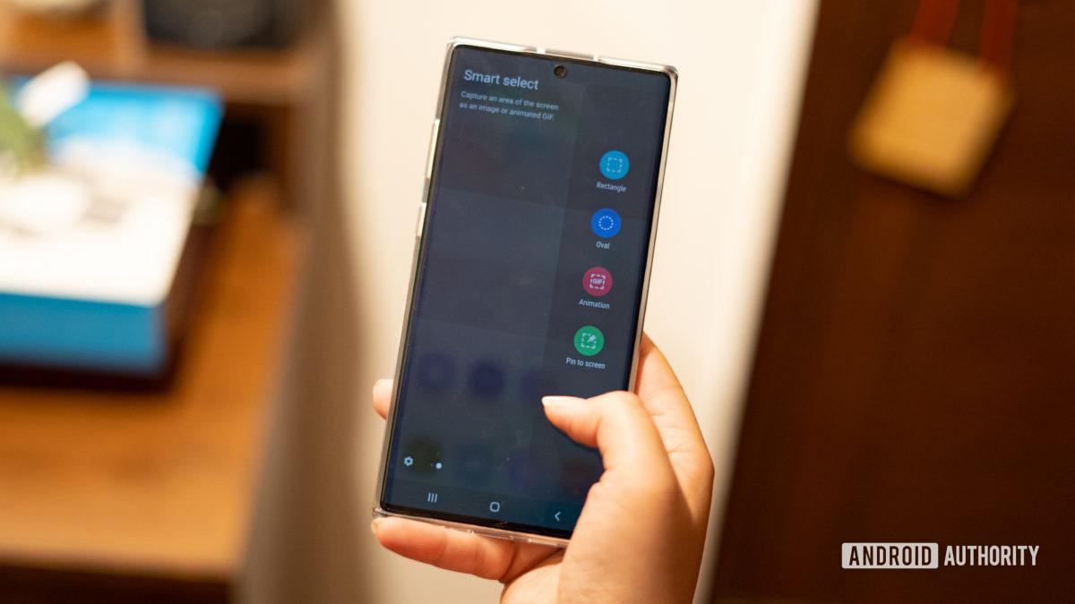 Функция смарт-скриншота Samsung Note 10