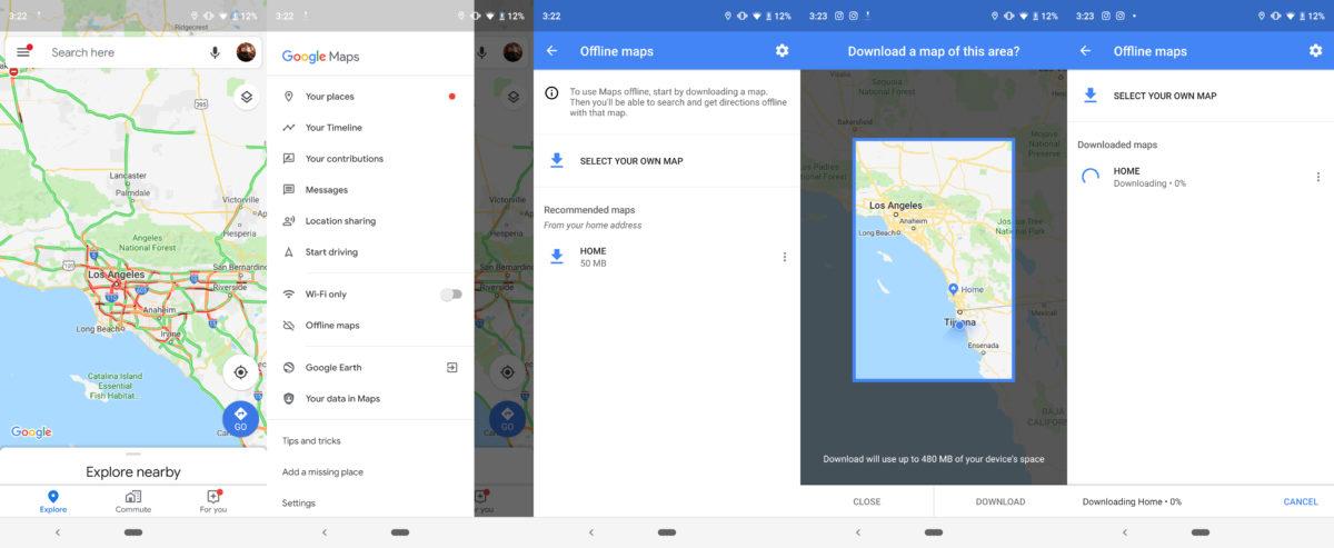 Скриншоты, показывающие, как загрузить области Google Maps
