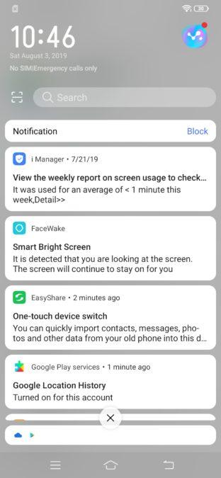 Vivo S1 notifications shade