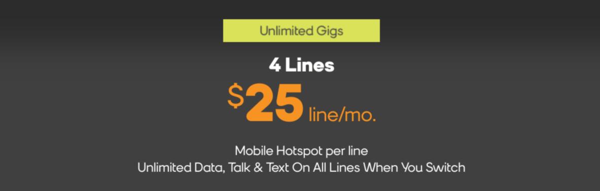 Boost Mobile сделка 4 линии по 100
