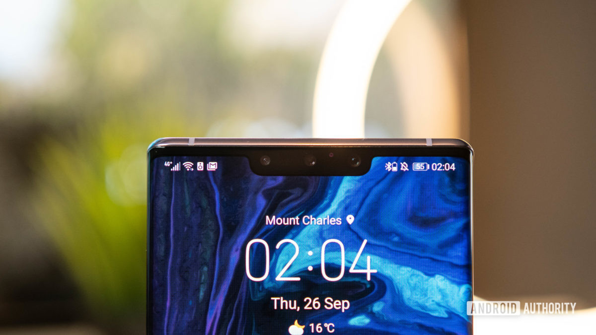 Huawei Mate 30 Pro Direct front shot of notch