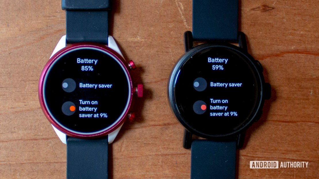 Misfit Vapor X Smartwatch Right next to Fossil Sport Left both showing battery options